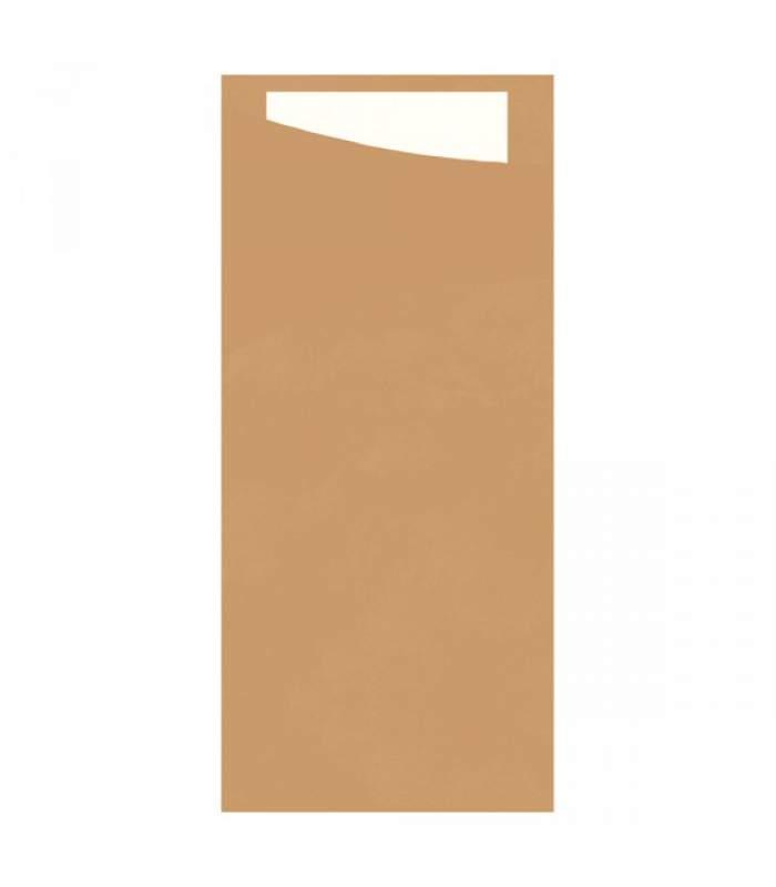 Duni Sacchetto 8,5 x 19cm - Eco Brown s bielou servítkou