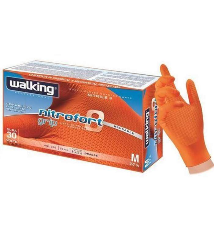 Nitrofort 8 grip - nitrilové rukavice nepúdrované walking